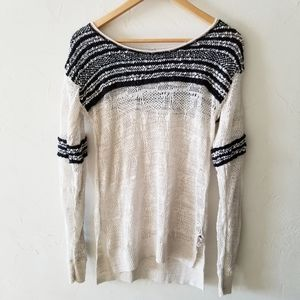 Free People Open Knit Long Sleeve Henley Thermal